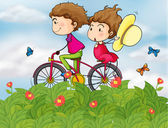 A bike with a girl and a boy