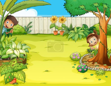 A boy and a girl hiding in the garden