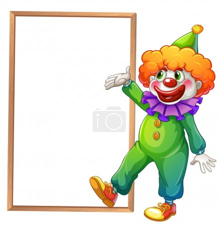 Illustration for Illustration of a clown pointing at the white board on a white background - Royalty Free Image