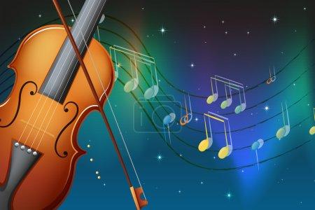Illustration pour Illustration d'un violon et de son archet avec des notes musicales - image libre de droit
