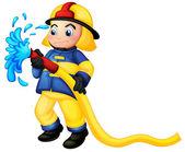 A fireman holding a yellow water hose