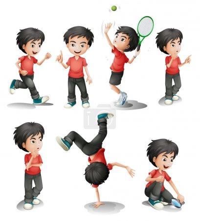 Illustration pour Illustration des différentes activités d'un jeune garçon sur fond blanc - image libre de droit