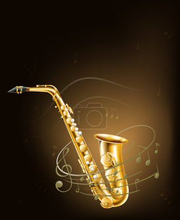 Illustration for Illustration of a saxophone with musical notes - Royalty Free Image