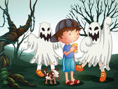 Illustration of a boy and his pet at the graveyard with ghosts