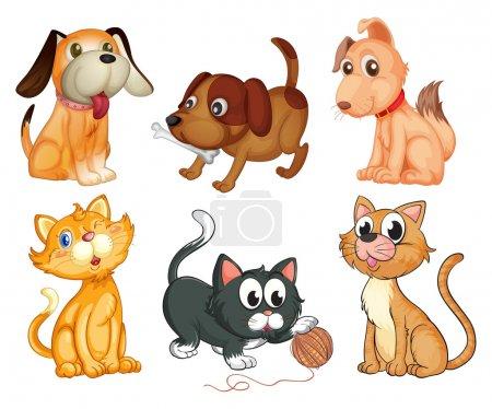Illustration pour Illustration des adorables animaux sur fond blanc - image libre de droit