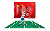 Illustration of a tennis player in front of the flag of China on a white background