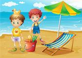 Děti na pláži s deštníkem a sklopné postele