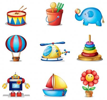 Illustration pour Illustration des neuf différents types de jouets sur fond blanc - image libre de droit