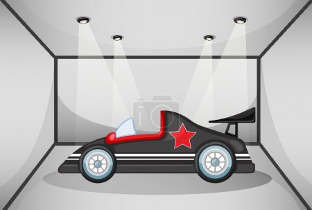 Illustration pour Illustration d'une voiture de luxe noire dans un garage - image libre de droit