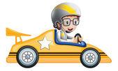 A girl in her yellow racing car