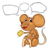 Krysa drží sýr s prázdné popisky