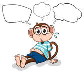 Illustration of a tired monkey thinking on a white background