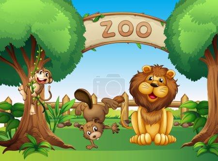 Illustration pour Illustration des animaux dans le zoo - image libre de droit