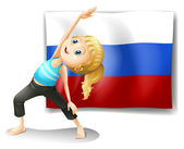A girl with the flag of the Russian Federation