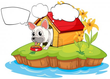 Illustration for Illustration of a dog in the island with empty callouts on a white background - Royalty Free Image