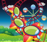Illustration of the colorful roller coaster