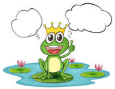 Illustration of the thinking frog with a crown on a white background