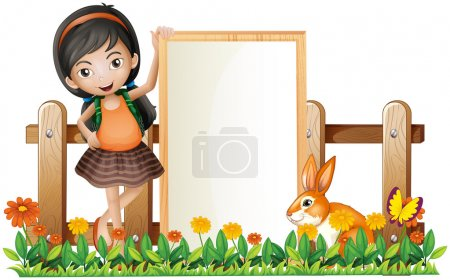 Illustration for Illustration of a girl standing beside an empty frame with a bunny on a white background - Royalty Free Image