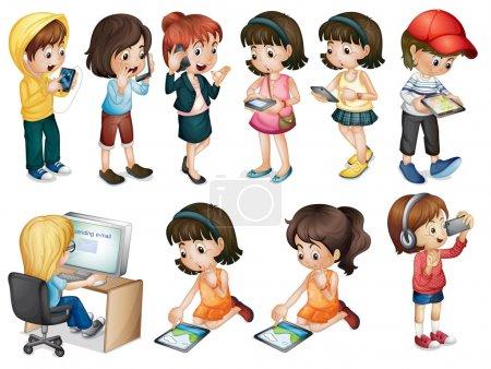 Illustration pour Illustration des différentes activités des jeunes femmes sur fond blanc - image libre de droit