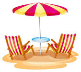A stripe beach umbrella and the two wooden chairs