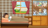 Illustration of a boy sleeping in his bedroom