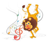 Illustration of a lion dancing with musical notes on a white background