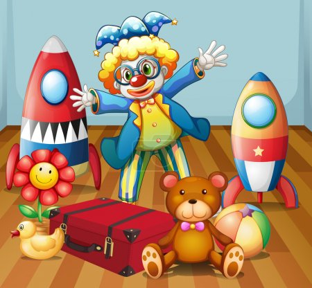 A clown with many toys