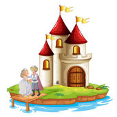 Illustration of a prince and a princess with a castle at the back on a white background