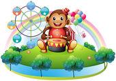 Hudební opička poblíž ruského kola
