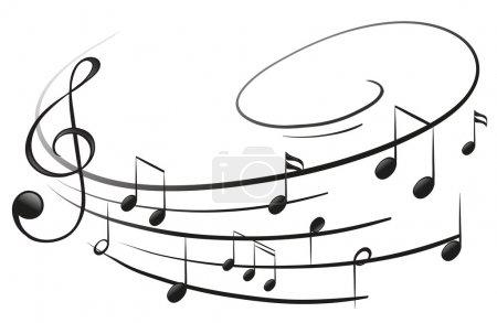 Illustration pour Illustration des notes musicales avec le G-clef sur fond blanc - image libre de droit
