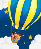Illustration of the six kids riding in the air balloon