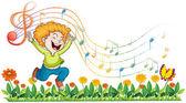 Illustration of a boy dancing in the garden with musical notes on a white background