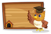 Illustration of an owl wearing a graduation cap beside a wooden board on a white background