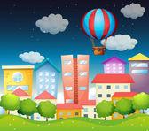 An air balloon at the city