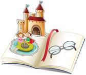 Kniha s hrad a brýle na čtení