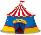 A colorful circus tent