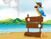 A parrot with a pirate hat above the wooden signboard