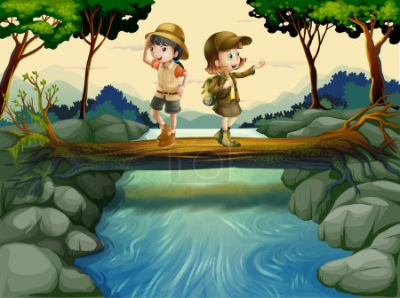 Illustration pour Illustration des deux enfants traversant la rivière - image libre de droit