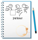 A notebook with a sketch of a parkour training at the cover page