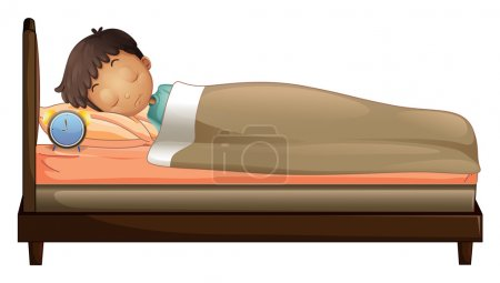 Illustration for Illustration of a boy sleeping with an alarm clock on a white background - Royalty Free Image
