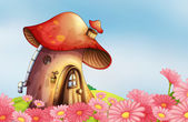 Illustration of a garden with a mushroom house