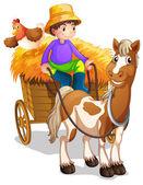 Farmář v jeho dřevěný vozík s koněm a kuře