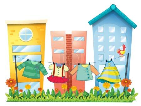 Illustration pour Illustration des vêtements lavés pendu dans le jardin avec un oiseau posé sur un fond blanc - image libre de droit