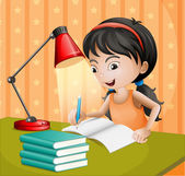 A girl writing with a lampshade