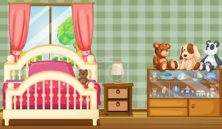 Illustration for Illustration of a clean bedroom with a lot of toys - Royalty Free Image