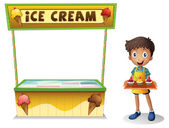 A boy selling ice cream for summer