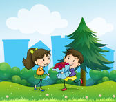 Illustration of a boy and his girlfriend at the hill