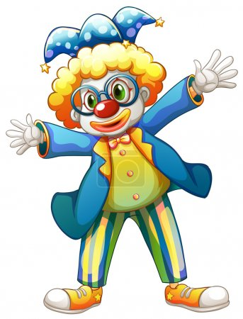 Illustration for Illustration of a clown with a colorful costume on a white background - Royalty Free Image