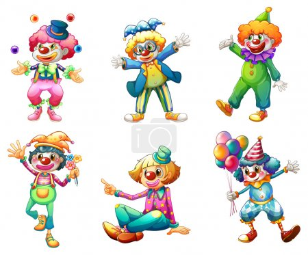 Illustration for Illustration of the six different clown costumes on a white background - Royalty Free Image
