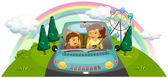 Illustration of a mother driving the car with her daughter on a white background